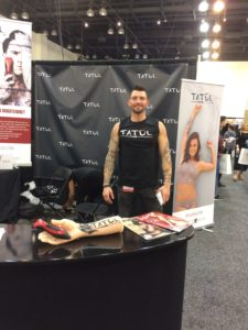 Harley working the booth at IMATS LA!